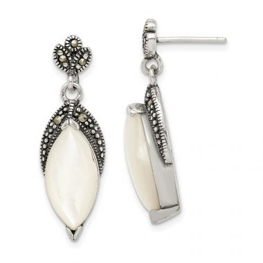 Quality Gold Sterling Silver Mother of Pearl and Marcasite Post Dangle Earrings