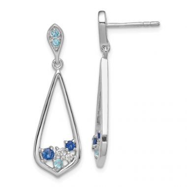 Quality Gold Sterling Silver Rhodium-plated Polished   CZ Post Dangle Earrings