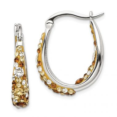 Quality Gold Sterling Silver Champagne and Clear Crystal Hinged Hoop Earrings