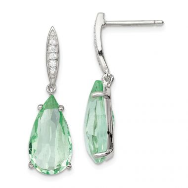 Quality Gold Sterling Silver with Green Glass and CZ Post Dangle Earrings