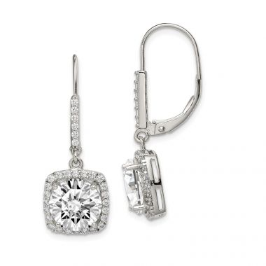 Quality Gold Sterling Silver Polished CZ Dangle Earrings