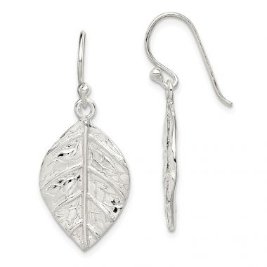 Quality Gold Sterling Silver Leaf Textured Dangle Earrings