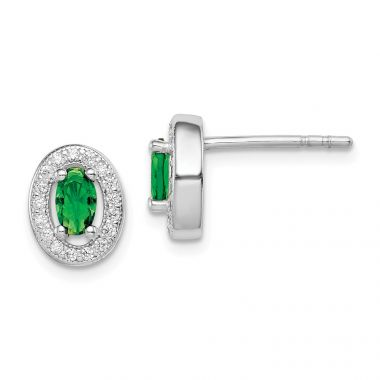 Quality Gold Sterling Silver Rhodium-plated   Green & White CZ Oval Stud Earrings