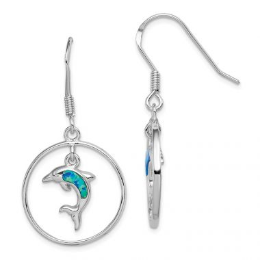 Quality Gold Sterling Silver Rhodium Circle  Created Blue Opal Dolphin Dangle Earrings