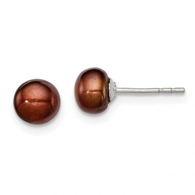 Quality Gold Sterling Silver 5-6mm Brown FW Cultured Button Pearl Stud Earrings