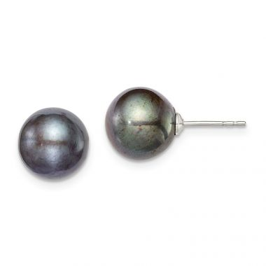 Quality Gold Sterling Silver 9-10mm Black FW Cultured Round Pearl Stud Earrings