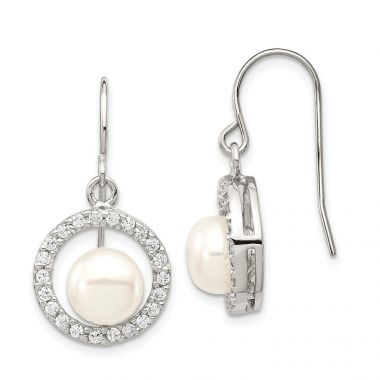 Quality Gold Sterling Silver 7-8mm White FW Cultured Pearl CZ Dangle Earrings