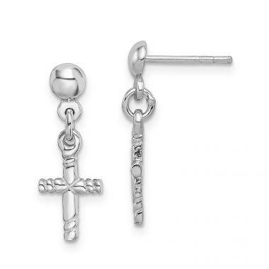 Quality Gold Sterling Silver Rhodium-plated Polished Cross Post Dangle Earrings