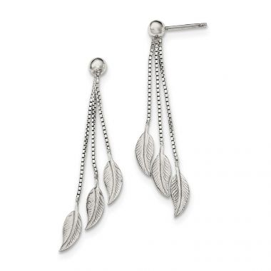Quality Gold Sterling Silver Polished and Textured Leaf Dangle Post Earrings