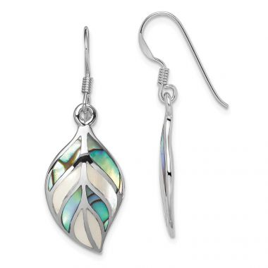 Quality Gold Sterling Silver Rhodium Polished Leaf MOP & Abalone Dangle Earrings
