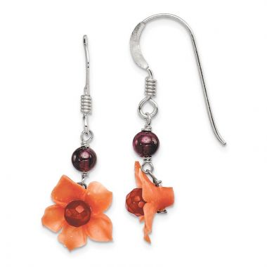 Quality Gold Sterling Silver Garnet Bead & Carnelian Dangle Flower Earrings