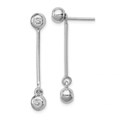 Quality Gold Sterling Silver Rhodium-plated Post & Dangle CZ Ball Front & Back Earrings
