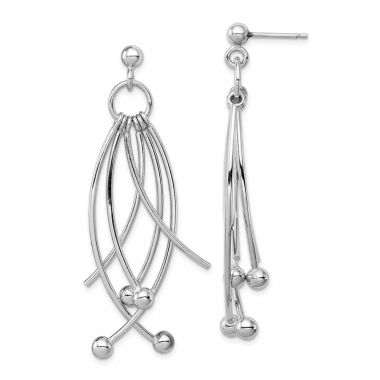 Quality Gold Sterling Silver Rhodium-plated Polished 6 Curved Dangles Post Earrings