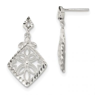 Quality Gold Sterling Silver Diamond Cut Textured Dangle Post Earrings