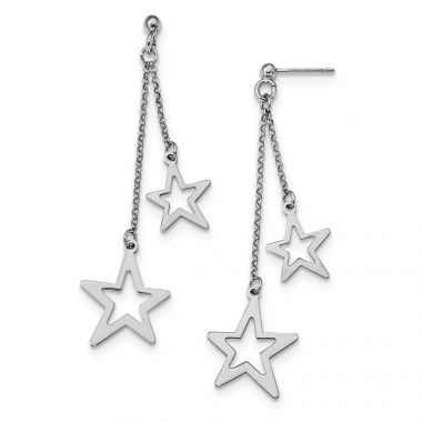 Quality Gold Sterling Silver Rhodium-plated Stars Dangle Post Earrings