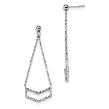Quality Gold Sterling Silver Rhodium-plated CZ Dangle Earrings