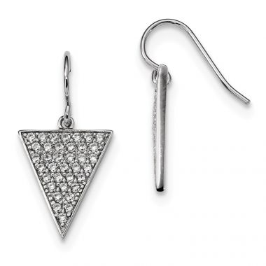 Quality Gold Sterling Silver Rhodium-plated CZ Triangle Dangle Earrings