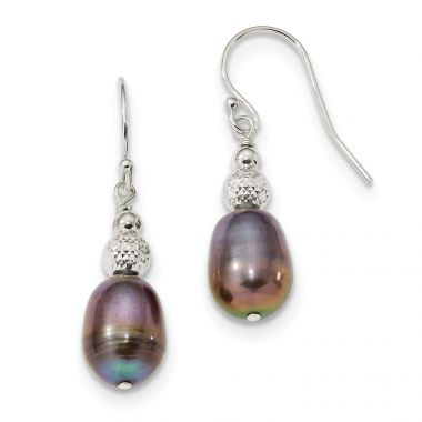 Quality Gold Sterling Silver 8-9mm Black Rice FWC Pearl Dangle Earrings