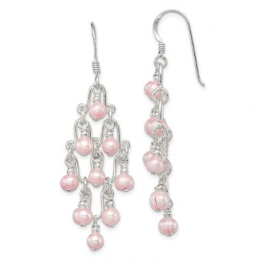 Quality Gold Sterling Silver Pink FW Cultured Pearl Fancy Dangle Earrings