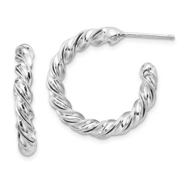 Quality Gold Sterling Silver Rhodium-plated Polished Twisted Post Hoop Earrings