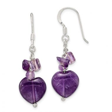 Quality Gold Sterling Silver Amethyst Heart Dangle Earrings
