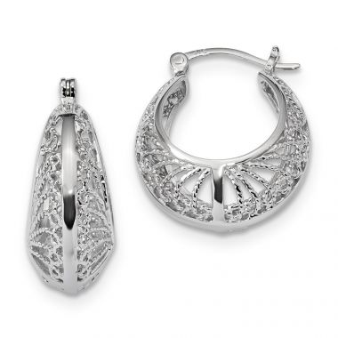 Quality Gold Sterling Silver Rhodium-plated Polished and Textured Hoop Earrings