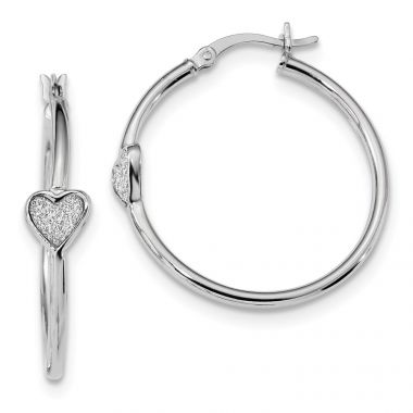 Quality Gold Sterling Silver Rhodium-plated Enamel Glitter Fabric Heart Hoop Earrings