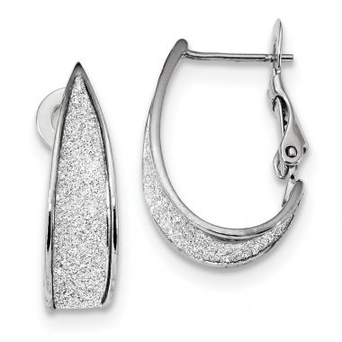 Quality Gold Sterling Silver Rhodium-plate Enamel Glitter Fabric Omega Back Hoop Earring