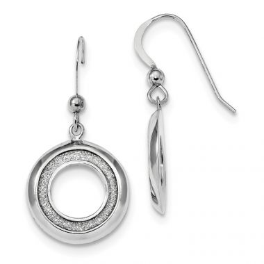 Quality Gold Sterling Silver Rhodium-plated Enamel Glitter Fabric Circle Dangle Earrings