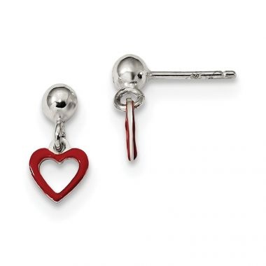 Quality Gold Sterling Silver Polished Red Enamel Heart Dangle Ball Post Earrings