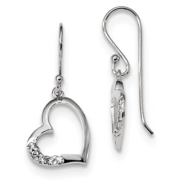 Quality Gold Sterling Silver Rhodium-plated CZ Heart Dangle Earrings