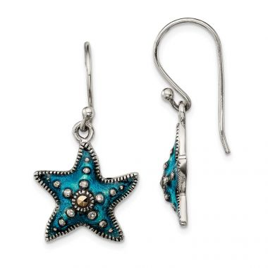 Quality Gold Sterling Silver Antiqued Blue Epoxy & Marcasite Star Dangle Earrings