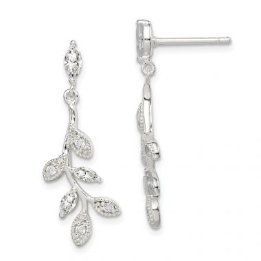 Quality Gold Sterling Silver CZ Leaf Dangle Post Earrings