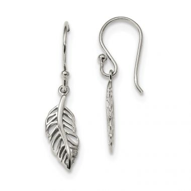 Quality Gold Sterling Silver Leaf Dangle Earrings