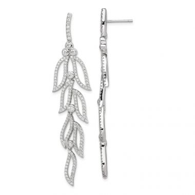 Quality Gold Sterling Silver Rhodium-plated CZ Leaves Dangle Post Earrings
