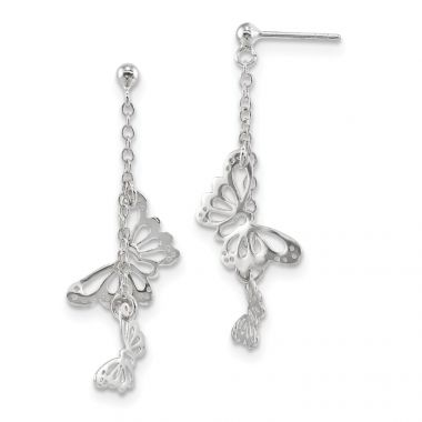 Quality Gold Sterling Silver Rhodium-plated Polished Butterfly Post Dangle Earrings