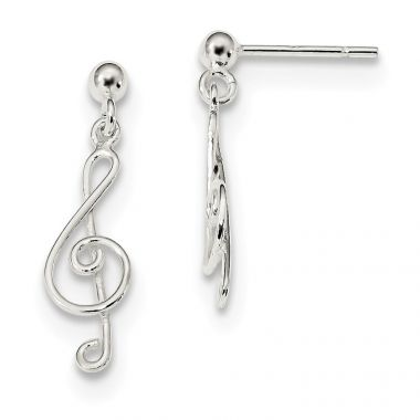 Quality Gold Sterling Silver Polished Treble Clef Post Dangle Earrings