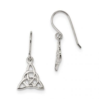 Quality Gold Sterling Silver Rhodium-plated Polished Trinity Knot Dangle Earrings
