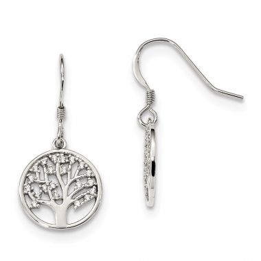 Quality Gold Sterling Silver CZ Tree of Life Dangle Shepherd Hook Earrings