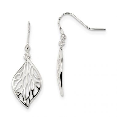 Quality Gold Sterling Silver Rhodium-plated Leaf Polished Dangle Earrings