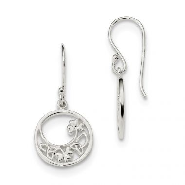 Quality Gold Sterling Silver Circle Clover & Celtic Knot Dangle Earrings