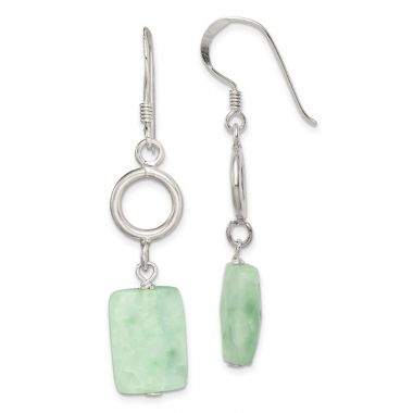 Quality Gold Sterling Silver Amazonite Stone Dangle Earrings