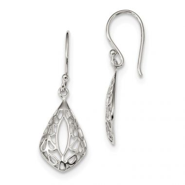 Quality Gold Sterling Silver Filigree Teardrop Dangle Shepherd Hook Earrings