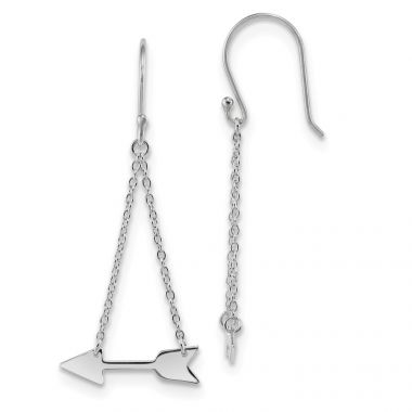 Quality Gold Sterling Silver Rhodium-plated Double Chain Arrow Dangle Earrings
