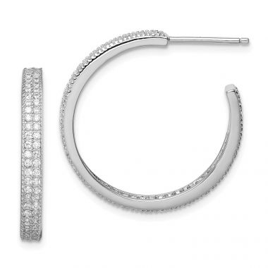 Quality Gold Sterling Silver Rhodium-plated CZ 20x3mm C-Hoop Earrings