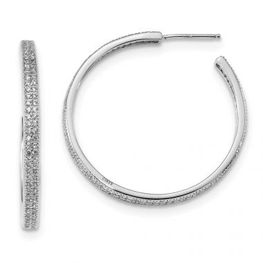 Quality Gold Sterling Silver Rhodium-plated CZ 30x3mm Hoop Earrings