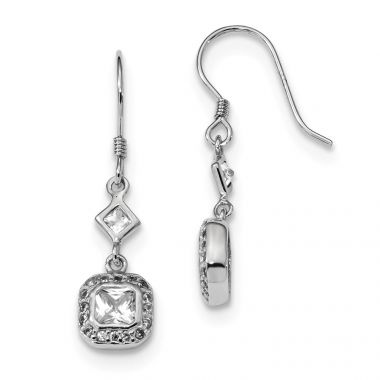 Quality Gold Sterling Silver Rhodium-plated CZ Square Halo Dangle Earrings