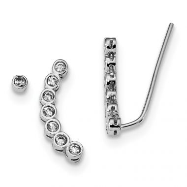 Quality Gold Sterling Silver Rhodium-plated CZ 1 Ear Climber & 1 Stud Earring