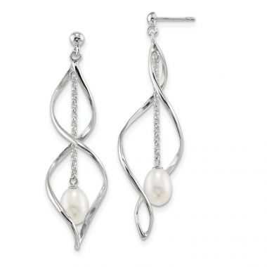 Quality Gold Sterling Silver RH 7-8mm White Rice FWC Pearl Post Dangle Earring