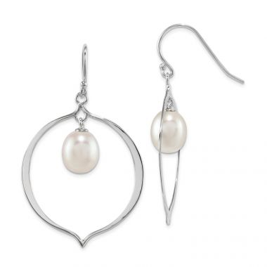 Quality Gold Sterling Silver 8-9mm White Rice FWC Pearl Polished Dangle Earrings